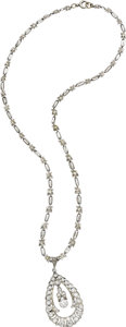Estate Jewelry:Necklaces, Art Deco Diamond, Platinum Pendant-Necklace. The teardrop-shapedpendant features European, full, single, and rose-cut dia...(Total: 1 Item)