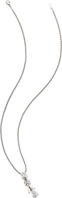 Diamond, Platinum Necklace, Oscar Heyman  The necklace features two round brilliant-cut diamonds, supporting a pear-shap...