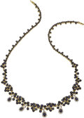 Estate Jewelry:Necklaces, Sapphire, Diamond, Gold Necklace. The necklace features round-cut sapphires weighing a total of approximately 29.00 carats... (Total: 1 Item)