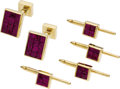 Estate Jewelry:Coin Jewelry and Suites, Ruby, Gold, Dress Set, Aletto Bros.. The set includes: one pair ofcuff links featuring square-cut rubies, invisibly set i... (Total:1 Item)