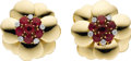 Estate Jewelry:Earrings, Ruby, Diamond, Gold Earrings, Aletto Bros.. Each earring, designedas a flower, features round-cut rubies, set in 18k yell... (Total:1 Item)