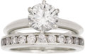 Estate Jewelry:Rings, Diamond, Platinum Ring Set, Tiffany & Co.. The ring set includes: one solitaire diamond ring, featuring a round brilliant-... (Total: 1 Item)