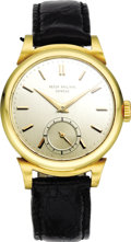 Timepieces:Wristwatch, Patek Philippe Men's Gold, Leather Strap Wristwatch, circa 1950.Case: 33 mm, round, 18k yellow gold, rounded bezel with f...(Total: 1 Item)