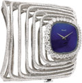 "Timepieces:Wristwatch, Piaget Lady's Diamond, Lapis Lazuli, White Gold ""Esclave"" BraceletWristwatch, circa 1970. Case: 30 mm, 18k white gold tra... (Total:1 Item)"