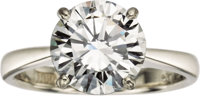 Diamond, Platinum Ring  The ring features a round brilliant-cut diamond measuring 10.11 - 10.02 x 5.84 mm and weighing 3...