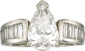 Estate Jewelry:Rings, Diamond, Platinum Ring. The ring features a pear-shaped diamondmeasuring 13.00 x 8.50 x 5.20 mm and weighing approximatel...(Total: 1 Item)