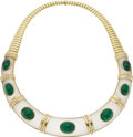 Estate Jewelry:Necklaces, Emerald, Diamond, Frosted Rock Crystal Quartz, Gold Necklace. The necklace features oval-shaped emerald cabochons weighing... (Total: 1 Item)