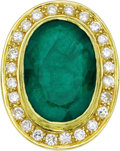 Estate Jewelry:Rings, Emerald, Diamond, Gold Ring. The ring features an oval-shapedemerald measuring 20.00 x 13.50 x 6.90 mm and weighing appro...(Total: 1 Item)