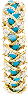 Estate Jewelry:Bracelets, Diamond, Turquoise, Gold Bracelet. The bracelet is highlighted bypear-shaped turquoise cabochons, enhanced by full and si... (Total:1 Item)