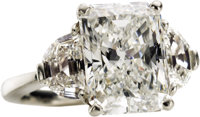 Diamond, Platinum Ring  The ring features a radiant-cut diamond measuring 11.74 x 9.03 x 6.03 mm and weighing 5.51 carat...