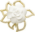 Estate Jewelry:Brooches - Pins, Diamond, Porcelain, Gold Brooch, Chanel. The brooch, designed as a gardenia, features a white porcelain carving, surrounde... (Total: 1 Item)