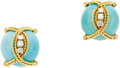 Estate Jewelry:Earrings, Turquoise, Diamond, Gold Earrings. Each earring features a turquoise cabochon wrapped in twisted 18k yellow gold, enhanced... (Total: 1 Item)