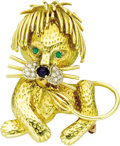 Estate Jewelry:Brooches - Pins, Diamond, Sapphire, Emerald, Gold Brooch. The brooch, designed as a lion, features single-cut diamonds weighing a total of ... (Total: 1 Item)