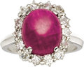 Estate Jewelry:Rings, Ruby, Diamond, Platinum Ring, Boucheron. The ring features anoval-shaped ruby cabochon measuring 10.60 x 9.10 x 4.35 mm a...(Total: 1 Item)