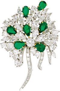 Diamond, Emerald, Platinum, Gold Pendant-Brooch  The pendant-brooch, designed as a floral bouquet, features pear-shaped...