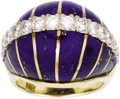 Estate Jewelry:Rings, Diamond, Lapis Lazuli, Gold Ring. The bombé form ring features carved lapis lazuli, accented by full-cut diamonds weighing... (Total: 1 Item)