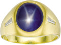 Estate Jewelry:Rings, Gentleman's Star Sapphire, Diamond, Gold Ring. The ring features an oval-shaped star sapphire measuring 11.50 x 10.00 x 6.... (Total: 1 Item)