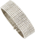 Estate Jewelry:Bracelets, Diamond, White Gold Bracelet. The bracelet features full-cutdiamonds weighing a total of approximately 21.00 carats, set ...(Total: 1 Item)