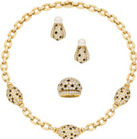 Diamond, Black Onyx, Gold Jewelry Suite, Cartier  The suite includes: one necklace featuring full-cut diamonds, enhanced...