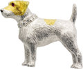 Estate Jewelry:Brooches - Pins, Diamond, Ruby, Gold Brooch, English. The handmade brooch, designedas a Jack Russell terrier, features a full-cut diamond ... (Total:1 Item)