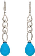 Estate Jewelry:Earrings, Diamond, Turquoise, White Gold Earrings. Each earring features full-cut diamonds, suspending a teardrop-shaped turquoise, ... (Total: 1 Item)