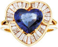 Estate Jewelry:Rings, Sapphire, Diamond, Gold Ring. The ring features a heart-shapedsapphire weighing approximately 1.85 carats, enhanced by ba...(Total: 1 Item)