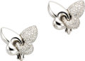 Estate Jewelry:Earrings, Diamond, White Gold Earrings, Bvlgari. Each earring, designed as astylized butterfly, features full-cut diamonds weighing... (Total:1 Item)