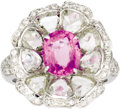Estate Jewelry:Rings, Pink Sapphire, Diamond, White Gold Ring. The ring, designed as aflower, features an oval-shaped pink sapphire weighing ap...(Total: 1 Item)