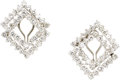 Estate Jewelry:Earrings, Diamond, White Gold Earrings. Each earring, features full-cutdiamonds, set in 18k white gold, completed by an omega clip ...(Total: 1 Item)