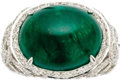 Estate Jewelry:Rings, Emerald, Diamond, White Gold Ring. The ring features an oval-shaped emerald cabochon measuring 17.00 x 13.75 x 8.75 mm and... (Total: 1 Item)
