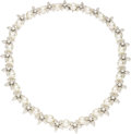 Estate Jewelry:Necklaces, Cultured Pearl, Diamond, White Gold Necklace. The necklace featurescultured pearls measuring 8.50 - 8.00 mm, alternating ... (Total: 1Item)