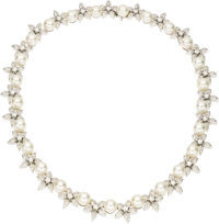Cultured Pearl, Diamond, White Gold Necklace  The necklace features cultured pearls measuring 8.50 - 8.00 mm, alternatin...
