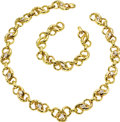 Estate Jewelry:Necklaces, Diamond, Gold Jewelry Suite, David Webb. The suite includes: onenecklace featuring pear-shaped diamonds weighing a total ...(Total: 1 Item)