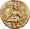 Ancients:India, Ancients: INDIA. Kushano-Sasanian. Imitating Vasudeva I (ca.190-230). AV dinar (7.89 gm). Choice XF....