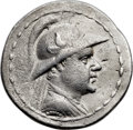 Ancients:Greek, Ancients: GRECO-BACTRIAN KINGDOM. Eucratides I the Great (ca.170-145 BC). AR tetradrachm (35mm, 16.29 gm, 12h). VF, flanflaw....