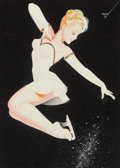 Mainstream Illustration, George Petty (American, 1894-1975). Pink Tuck Jump, IceCapades, 1947. Watercolor on board. 12.75 x 9.25 in. (sight).Si...