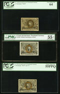 Fractional Currency:Second Issue, Fr. 1232 5¢ Second Issue PMG 55 EPQ. Fr. 1233 5¢ Second Issue PCGS Very Choice New 64. Fr. 1234 5¢ Second Issue PCGS Choice Ab... (Total: 3 notes)