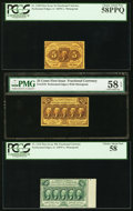 Fractional Currency:First Issue, Fr. 1228 5¢ First Issue PCGS Choice About New 58PPQ. Fr. 1279 25¢First Issue PMG Choice About Unc 58 EPQ. Fr. 1310 50... (Total: 3notes)