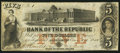 Obsoletes By State:Rhode Island, Providence, RI- Bank of the Republic $5 Aug. 14, 1855 G8a; Durand 1088. ...