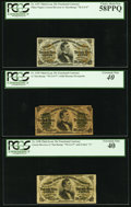 Fractional Currency:Third Issue, Fr. 1297 25¢ Third Issue PCGS Choice About New 58PPQ. Fr. 1298 25¢ Third Issue PCGS Extremely Fine 40. Fr. 1299 25¢ Third Issu... (Total: 3 notes)