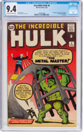 Silver Age (1956-1969):Superhero, The Incredible Hulk #6 (Marvel, 1963) CGC NM 9.4 Off-white to whitepages....