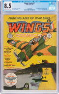 Golden Age (1938-1955):War, Wings Comics #1 (Fiction House, 1940) CGC VF+ 8.5 Off-white to white pages....