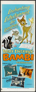 "Movie Posters:Animated, Bambi (Buena Vista, R-1966). Insert (14"" X 36""). Animated...."