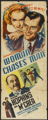 """Woman Chases Man (United Artists, 1937). Insert (14"""" X 36""""). Comedy"""