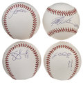 Autographs:Baseballs, 2004 Montreal Expos Single Signed Baseballs Lot of 4. Great quartetof clean OML orbs has each been signed by a member of t...