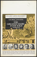 "Movie Posters:Drama, The Greatest Story Ever Told (United Artists, 1965). Window Card (14"" X 22""). Drama...."