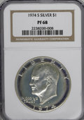 Proof Eisenhower Dollars: , 1974-S $1 Silver PR68 NGC. NGC Census: (43/19). PCGS Population(69/3). Mintage: 1,306,579. Numismedia Wsl. Price for NGC/P...