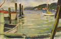 Fine Art - Painting, American, EMILE ALBERT GRUPPE (American 1896-1978). Boats in theHarbour. Watercolor on paper. 6 x 9 inches (15.2 x 22.9 cm).Sign...