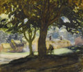 Fine Art - Painting, European:Modern  (1900 1949)  , SIR GEORGE CLAUSEN (British 1852-1944). View of a Village .Watercolor and pencil on paper. 9 x 11 inches (22.9 x 27.9 c...
