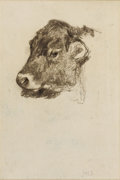 Works on Paper, JOHN HENRY TWACHTMAN (American 1853-1902). Study of a Cow's Head. Pencil on laid paper. 14-1/2 x 12 inches (36.8 x 30.5 ...
